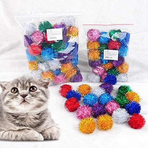 50 Piezas Pelotas de Juguete Bolas para Gato Gatito Juguetes, Pelotas de Juguetes Coloridos de Gato Arrugado Bolas Mylar de Gatito, interactuando con Gatos