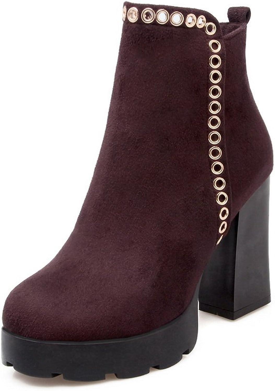 AdeeSu Womens Chunky Heels Metal Ornament Platform Imitated Suede Boots