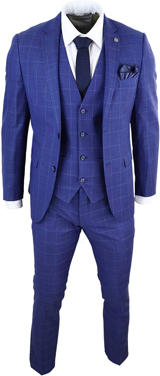 Mens 3 Piece Suit Royal Blue Prince of Wales Check Suit Classic Wedding Formal