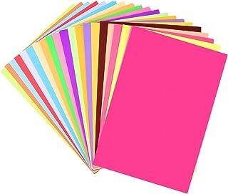 SUPVOX Papel de cartão colorido, 21 x 28 cm, 100 folhas, 20 cores, kit clássico de cartolina para iniciantes, estoque de d...