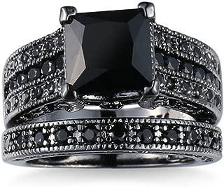 Balakie Wedding Band Woman Vintage Black Diamond Engagement Ring Cool Crystal Jewelry