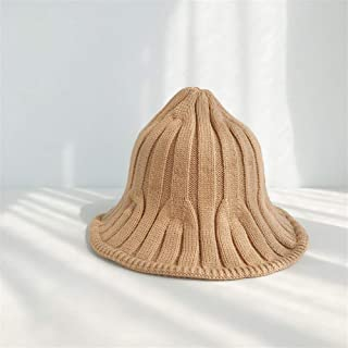 SHENTIANWEI Ms. Autumn and Winter Fisherman hat Bucket Hats Korean Pointed Striped Knit hat Wool Cap Warm hat Japanese Wild (Color : Camel, Size : One Size)