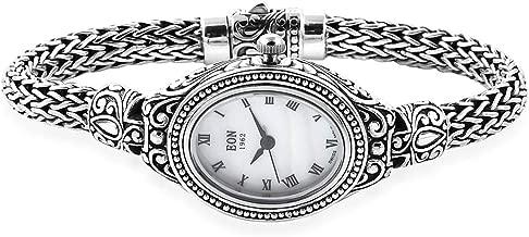 925 Sterling Silver Filigree Cuff Bangle Bracelet Wrist Watch Handmade Tribal Boho Vintage Accessory