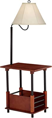 Marville Mission Floor Lamp End Table Swing Arm Farmhouse Wood Open Crate Design Empire Shade for Living Room Reading Bedroom - Regency Hill