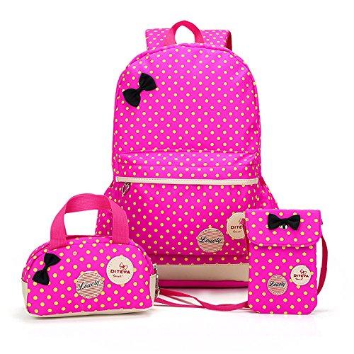 MCUILEE Conjunto de 3 Polka Dot Mochilas Escolares/Escolares Bolsas/Mochila niños niñas Adolescentes + Mini Bolso + Bolso Crossbody (Rosa Roja)