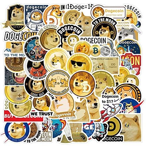 50PCS Dogecoin Stickers Cool Space Astronaut Doge Calcomanía de Juguete para DIY Notebook Skateboard Laptop Guitar Casco Papelería - 50pcs Dogecoin 2
