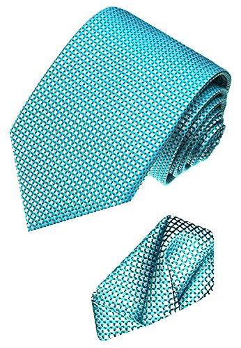 Lorenzo Cana - Set aus 100{769b0d76d1aac4b40c418618a951e6ce854707090e3c80f44def00a8068643d2} Seide - Tuerkise Krawatte mit Einstecktuch - klein karierte Seidenkrawatte mit Tuch 8440401