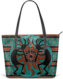 Kokopelli Southwest Turquoise Decorative Leather Tote Large Purse Shoulder Bag Portable Storage HandBags Convenient Shoppers Tote