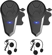 Yideng Motorcycle Bluetooth Headset Intercom Motorcycle Helmet BT interphone Walkie-Talkie Headphone Waterproof Wireless Communication System for 2-3 Riders.(Dual Pack) (2)
