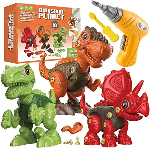 Fundia Take Apart Dinosaur Toys for Kids 3-5, STEM Toys for 3 4 5 6 7 Year Old Boys and Girls, Construction Dinosaur Toys Kids Toys with Electric Drill for 3-7 Year Old Boys and Girls Birthday Gifts