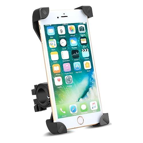 Anti-vibrations Support de Velo, Support Telephone Vélo Universel Support Vélo du Guidon pour 3,5 à 6,5 pouces écran smartphone GPS d'autres appareils, orientable à 360 degrés, quatre d'angle fixe