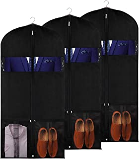 KEEGH Garment Bags 54inch Suit Dust Cover Breathable Travel Storage Bags with 2 Large Mesh Pockets for Jackets Coats Shoes (Pack of 3)