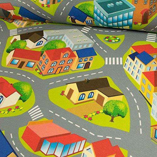 Stoffe Werning Filzteppich Stadtmuster Straße grün Spielteppich Kinderstoffe - Preis Gilt für 0,5 Meter -