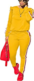 Women's 2 Piece Outfits Ruffle Sleeve Sweatshirt and Pants Sweatsuits Set Tracksuits