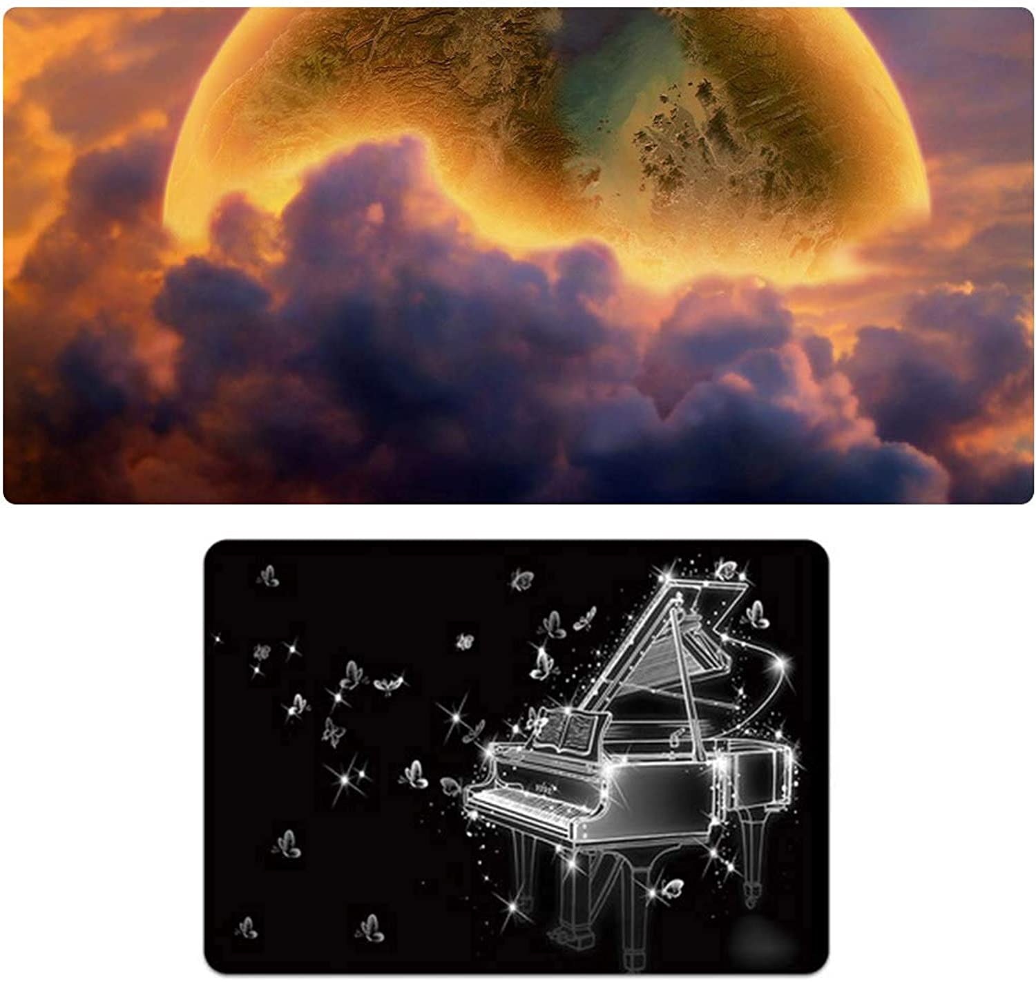 Oversized + Small Game Mouse Pad Set, SciFi Planet Piano Pattern, Game Esport Mouse Pad Keyboard Pad, Natural Rubber NonSlip 3mm Thick, Holiday Gift1900  400mm