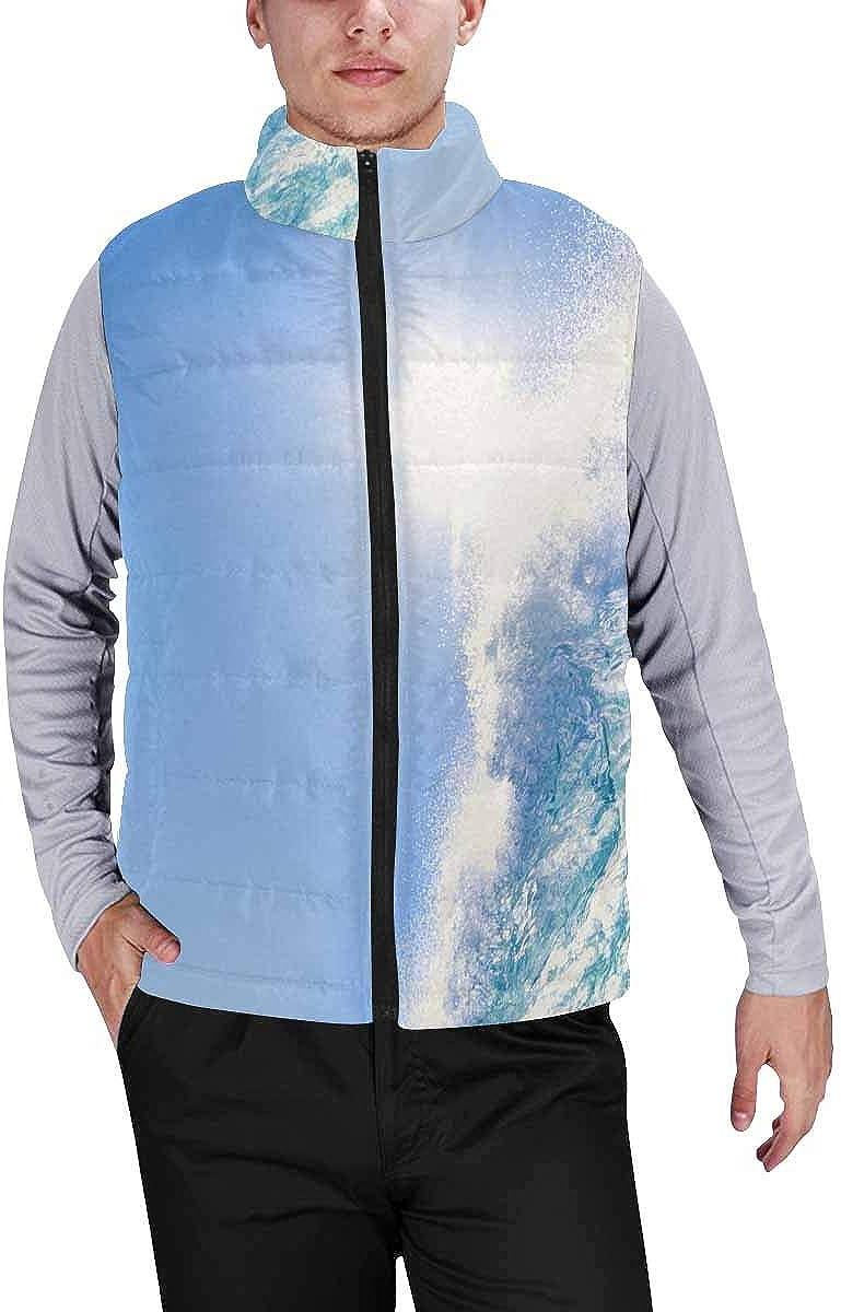 InterestPrint Men's Full-Zip Padded Vest Jacket for Outdoor Activities Blue Floral Pattern