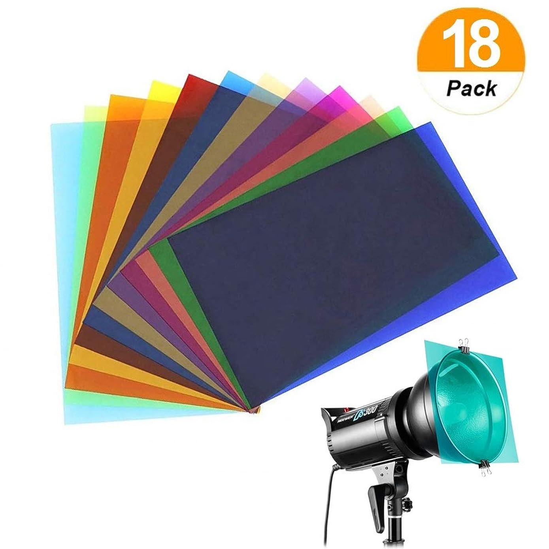 SAKOLLA 18 Pack Color Correction Gel Light Filter - Transparent Color Lighting Gel Filter Plastic Sheets, 8.5 by 11 Inches, 9 Colors