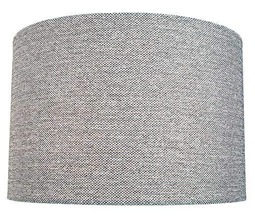Moderner und schlanker 30 cm breiter hellgrauer Trommellampenschirm aus Leinengewebe mit maximal 60 W von Happy Homewares