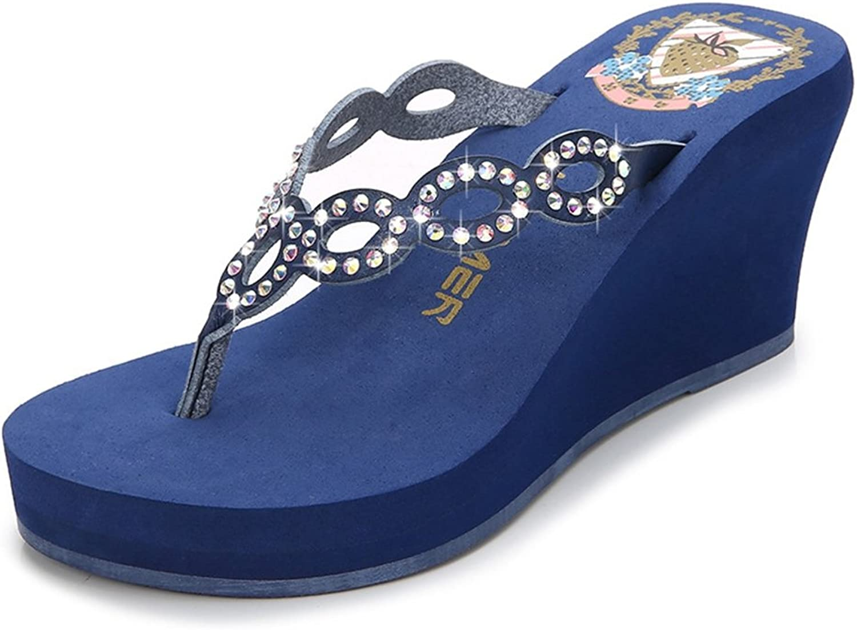 CYBLING Womens Wedge Thong Sandals Fashion Comfortable High Heel Crystal Beach Flip-Flop Summer Slipper