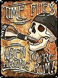 TIME FLIEG WHEN YOU'RE HAVING RUM Metall Blechschild Retro