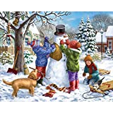 Bits and Pieces - 300 Large Piece Jigsaw Puzzle for Adults - Building a Snowman on a Snow Day - 300 pc Winter Scene Jigsaw by Artist Liz Goodrick-Dillon