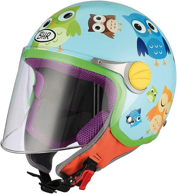 Bhr Demi Jet Kinder Motorradhelm Modell Junior 713 Farbe Hellblau Mit Eulen GrÖße Ys Auto