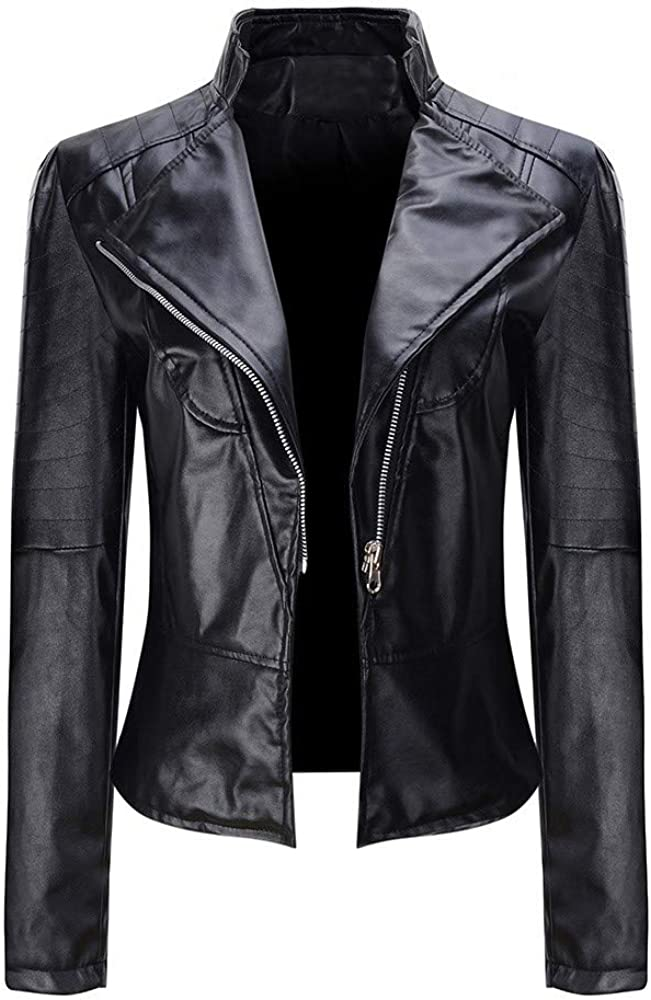 TOTOD Women Faux Leather Short Moto Jacket Windproof Lapel Diagonal Zipper Plain Color Coat Windproof Outwear