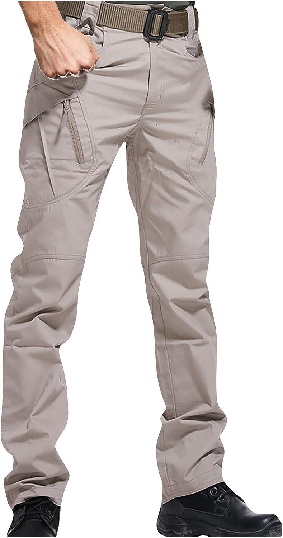 Men's Multi-Pockets Work Pants Tactical Lightweight Outdoor Military Combat Cargo Trousers Waterproof Hiking Pants