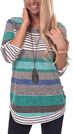 DREAMLOVER Women Tunic Srtiped Shirt Color Block Casual Long Sleeve Blouse Top