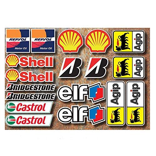 Ti El Es 18 PVC Aufkleber Set Motorsport Rennsport Motorrad Auto Racing Laminiert Sticker Moto GP Sponsors
