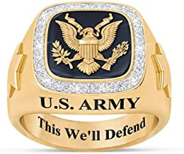 The Danbury Mint Personalized Men's Military Rings – Army, Air Force, Navy, Marine Corps. – Military Gifts for Men – Gifts for Veterans
