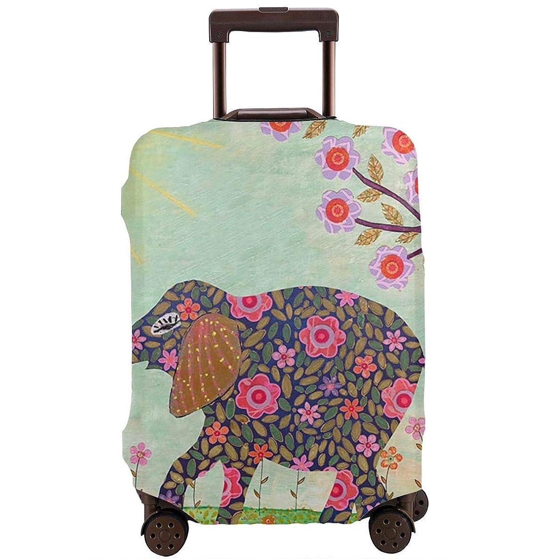 統計的建物詩レッドカラー スーツケースカバー ラゲッジカバー キャリーカバー 象 花 防塵カバー トランクカバー 旅行用品 トラベルダストカバー