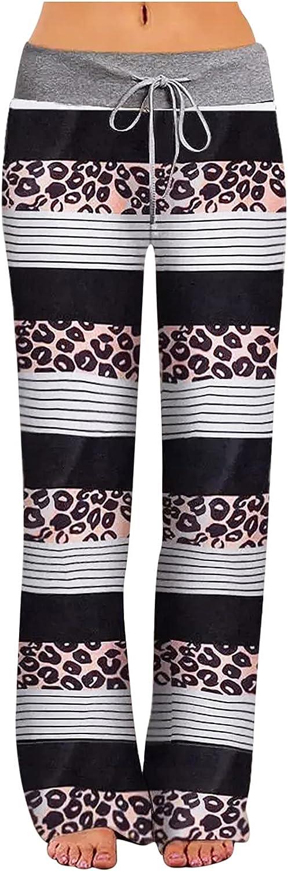 MIVAMIYA Women's Leopard Print Wide Leg Palazzo Pants Drawstring Elastic Comfy Pajamas Pants Loose Lounge Jogger Pants