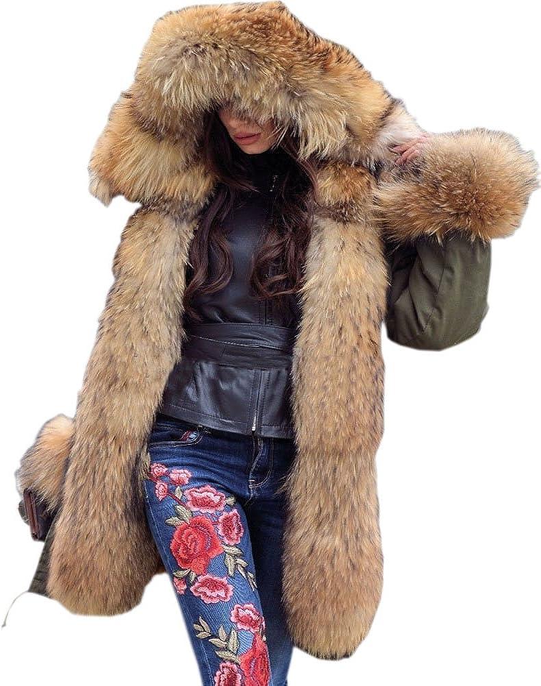 Tiptupu Women's Faux Fur Lined Coat Hooded Warm Winter Outwear Thicken Jackets Parka Long Cardigan