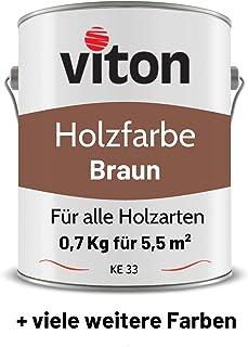 VITON Holzfarbe in Braun - 0,7 Kg Holzlack Glänzend - Dauerhafter Schutz für Innen und Außen - 2in1 Grundierung & Deckfarbe - Profi-Holzschutzlack - KE33 - RAL 8002 Signalbraun