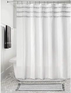 InterDesign Pom Pom Fabric Shower Curtain, Modern Mildew-Resistant for Master, Guest, Kids' Bathrooms, Bathtubs, Stalls, 7...