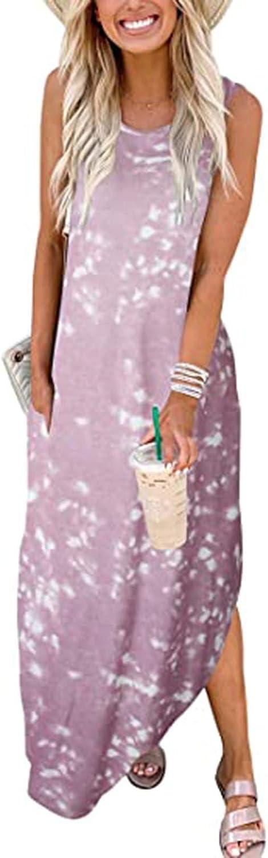 AODONG Summer Dresses for Women,Womens V Neck Sleeveless Sundresses Asymmetrical Patchwork Tie Dye Floral Maxi Dresses