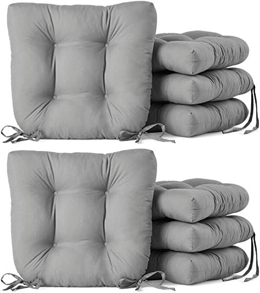 Home Improvements Set Of 8 Gray Microfiber Soft Plush Kitchen Dining Chair Pads Cushions