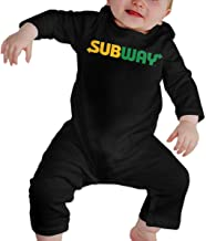 RuiPeng Baby Round Neck Long Sleeve Climbing Clothes Subway Trademark Funny Crawling Suit Black