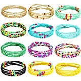 12 Pieces Waist Bead Chains Summer African Belly Beads Colorful Beach Bikini Body Belly Chain Elastic Jewelry for Women Girls