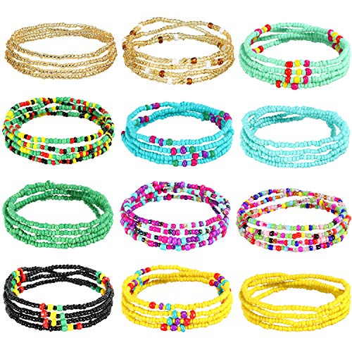 12 Pieces Waist Bead Chains Summer African Belly Beads Colorful Beach Bikini Body Belly Chain Elastic Jewelry for Women Girls (Black, Blue, Yellow)