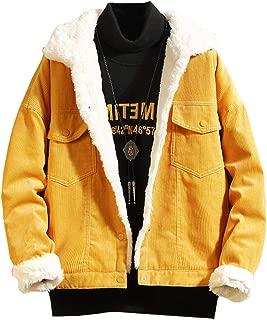 Ladyful Men's Winter Sherpa Lined Corduroy Trucker Jacket Coat Lapel Outcoat