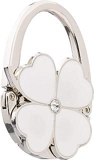Four Leaf Clover Design Foldable Handbag Hanger Folding Purse Table Hook Holder(White),White