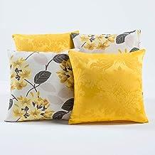 Kit c/ 4 Almofadas Cheias Decorativas Floral Amarelo/Branco 04 Peças c/Refil