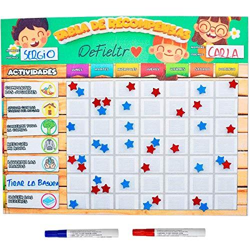 DeFieltro - Tabla de Recompensas de Fieltro para Niños en Español - Pizarra Grande Infantil con Velcros de Estrellas Inspira el Buen Comportamiento