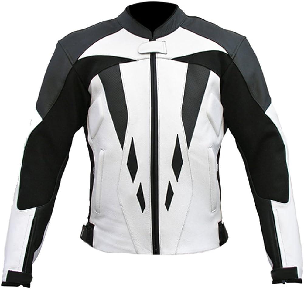 Sleekhides Men's White & Black Real Leather Motorbike Jacket