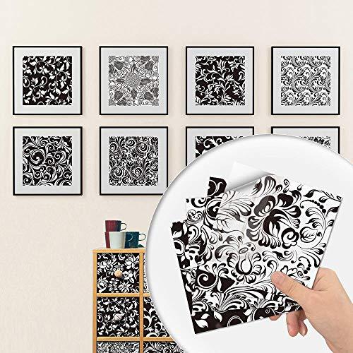 20 hojas Pegatinas de Baldosas Autoadhesivo Placa para Salpicaduras de Cocina , Vinilo azulejos Baldosas de pared de baño,Patrón blanco y negro,20x20cm