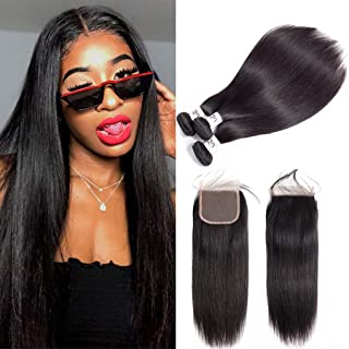 Anknia Brazilian Virgin Hair Straight 3 Bundles With Closure Good Cheap Weave Human Hair Bundles With Closure Mink Remy Hair Extensions 4x4 Inch Lace Closure Free Part With Baby Hair (10 12 14 + 10)