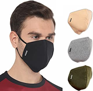 Liberty Warrior Branded Reversible Unisex's 4pcs Multicolor Cotton Cloth Face Mask Breathable, Reusable and Washable (Mult...