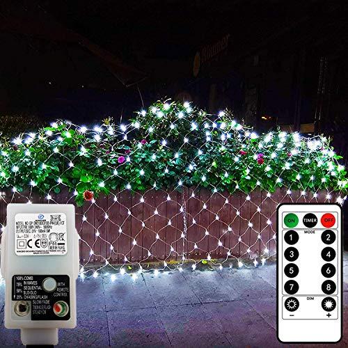 DreiWasser LED Net Lights, 1.5M x 1.5M 100 LEDs Low Voltage Mesh Fairy Lights Outdoor Indoor 8 Modes Christmas Net Lights for Garden, Bushes, Wedding, Xmas Tree Decorations(Cool White)